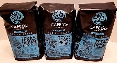 - HEB Cafe Ole Coffee WHOLE BEAN Texas PECAN, 12-Ounce Bags 3 Pack FREE Shipping