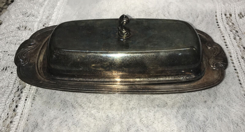 Vtg Butter Dish with Lid Silver Plate
