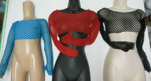 LongSleeve Open Mesh Spandex Crop Top Dance Theatrical Costume Top 4 colors