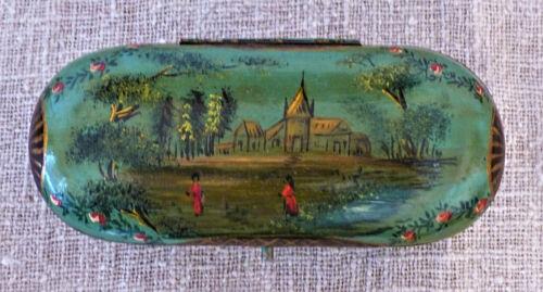 Antique 19th C Papier Mache FRENCH Sewing KIT Tool ETUI Thimble Scissors CASE