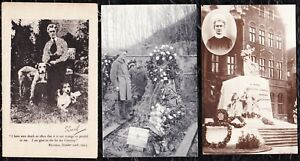 3 EDITH CAVELL  WW1  POSTCARDS  - UNPOSTED - HER GRAVE - MEMORIAL - PORTRAIT -