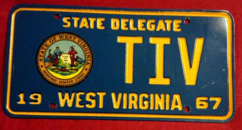 1967 WEST VIRGINIA STATE DELEGATE TIV LICENSE PLATE