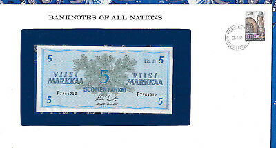 Banknotes of All Nations Finland 5 Markkaa 1963 UNC P106Aa.9