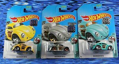 2017 Hot Wheels Volkswagen Beetle Tooned Yellow,Zamac,Teal 3 Car Lot Box Shipped
