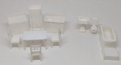 Lot of vintage Made in the Allied USA Dollhouse furniture white bathroom kitchen