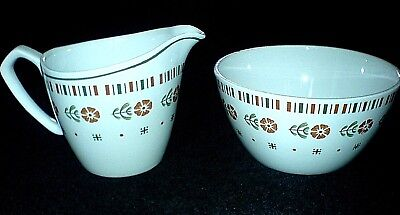 ALFRED MEAKIN GLO-WHITE MEA26 Retro Orange Flowers Jug + Sugar Bowl c1945