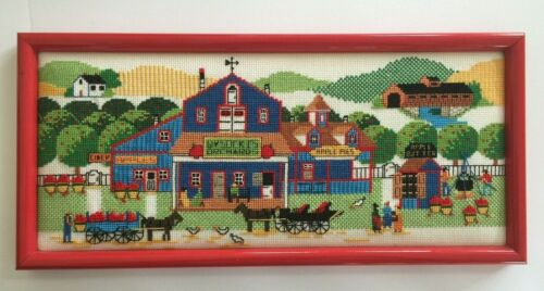 Charles Wysocki Orchard 3586 Cross Stitch Completed Framed Americana Apples