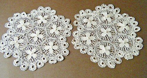 """Antique Nanduti  lace lot 2 doilies round shape  tan color 7.5"""" diam """" h made"""