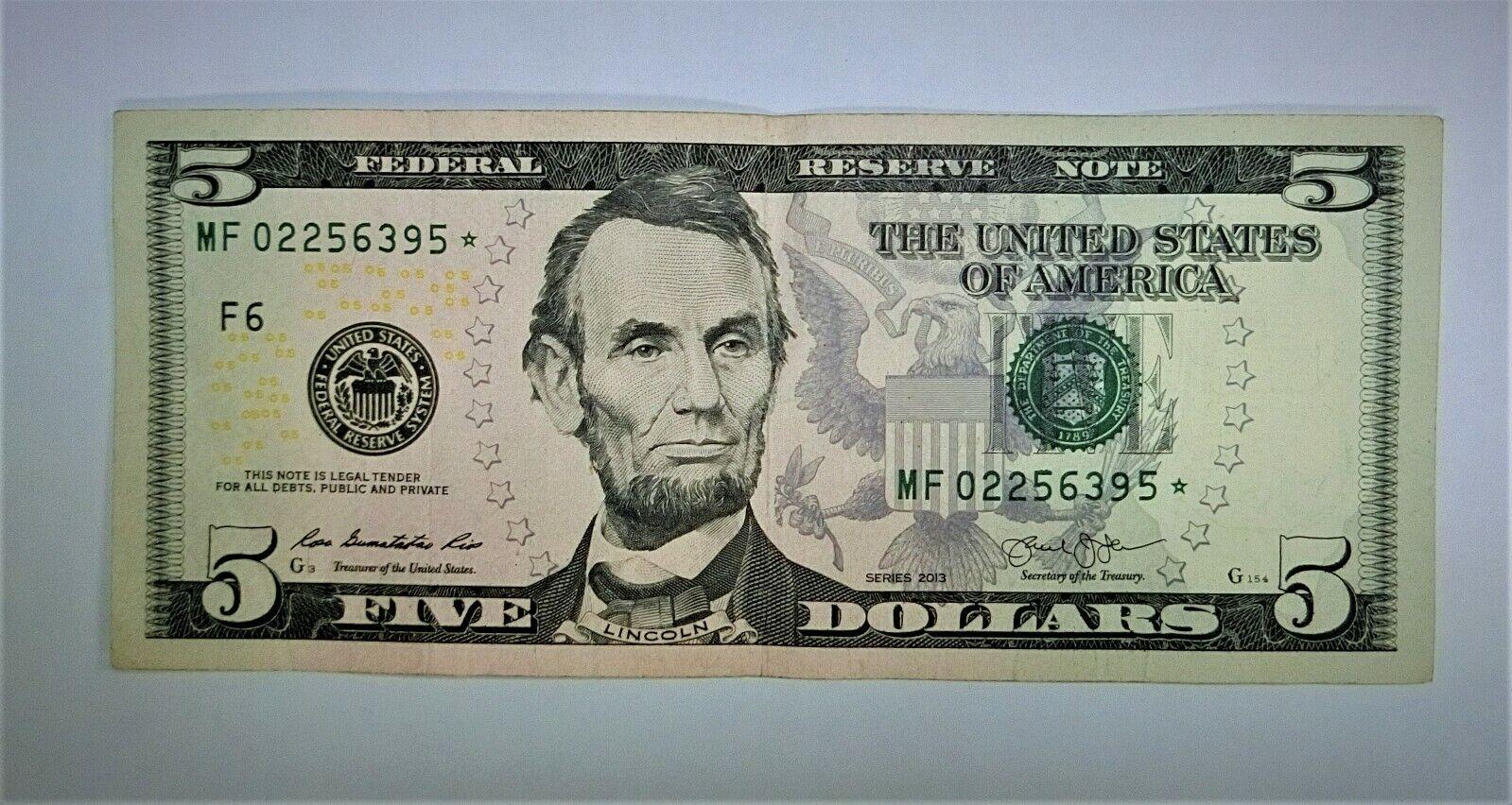 2013 5 FIVE DOLLAR STAR NOTE CURRENCY, BILL MF - 124  - $1.84