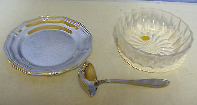 Crystal Bleikristall Candy Dish Hoffritz ladle Silverplate set Made in Germany  Candy Dish Set