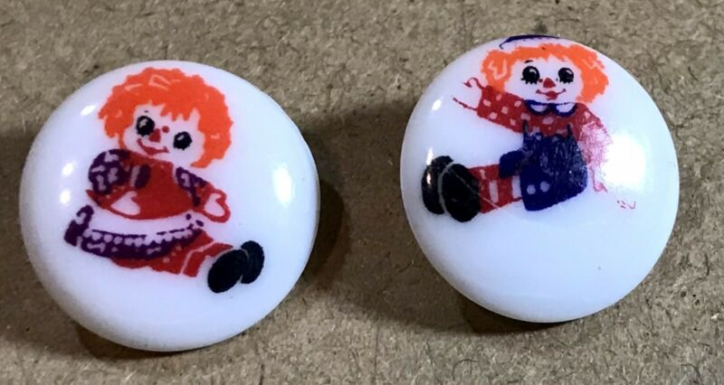 """Vintage 2 RAGGEDY ANNE & ANDY Plastic Buttons 5/8"""" Colorful Hair"""