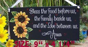 SUNFLOWER KITCHEN BLESSING PRAYER SIGN  BLESS FOOD SUNFLOWERS WALL DECOR