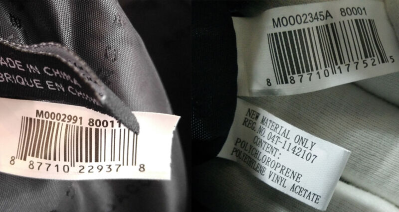 Example of two genuine bar code style tags. You can see the notable difference in print.