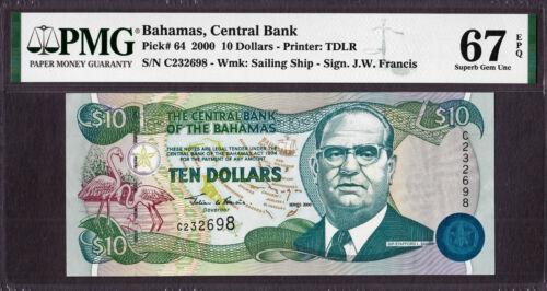 Bahamas 10 Dollars 2000 Pick-64 SUPERB GEM UNC PMG 67 EPQ