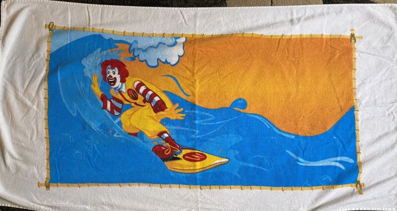 """Vintage Beach Towel 58""""x 29"""" New Never Used by Hilasal Ronald McDonald surfing"""