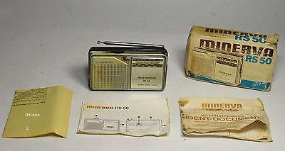 Radio Minerva portatile vintage RS 50 in box libretto mini retrò collezione -0T8