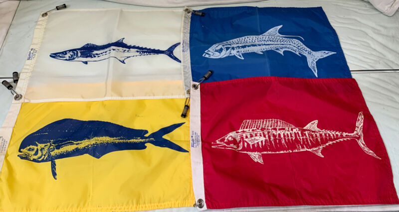Rare Lot of 4 - Vintage Taylor Made Boat Flags Fish Asst.