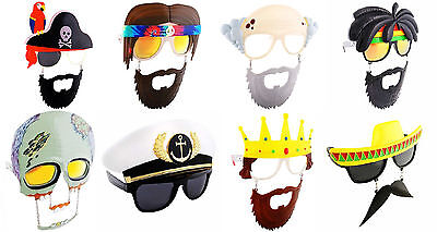 HIPPIE RASTA PIRATE KING ZOMBIE OLD MAN CAPTAIN COSTUME GLASSES MASK SUN-STACHES