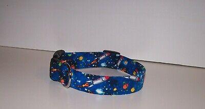 Wet Nose Designs Rocketman Dog Collar on Blue Rockets Outer Space Stars Planets Blue Stars Dog Collars