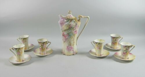 Vintage 14pc RS Prussia China TULIPS Chocolate Pot with Cups & Saucers Set