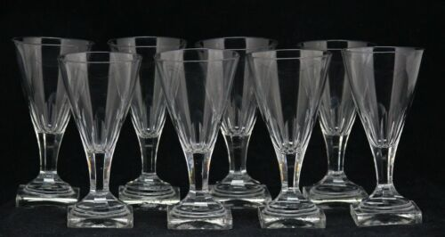 8x antique 18th C Empire crystal Wine or Port Glass, ca. 1780, square base