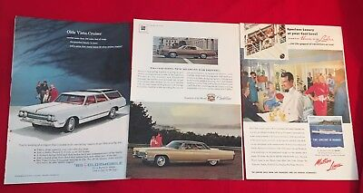 Three Mint Condition Magazine Ads 1967 Cadillac, 1954 Matson Lines 1965 Olds
