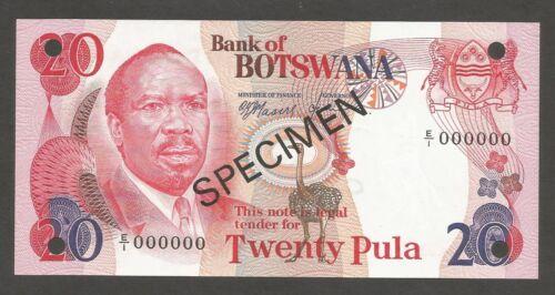 Botswana 20 Pula N.D. (1976); UNC; P-5s1, L-B105as1; SPECIMEN; Mining conveyors