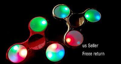 LOT fo 2 Fidget Spinner ,Metal Fidget Spinner, Flash light US Seller