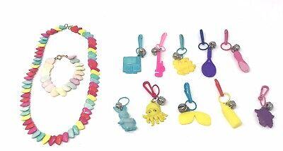 Plastic Charm Bracelets (Plastic Bell Charm Lot of 10 Heart Necklace and Bracelet Vintage 1980)