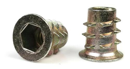 "EZ-LOK Die Cast Zinc Flange Hex-Drive Threaded Inserts for Wood - 3/8""-16"