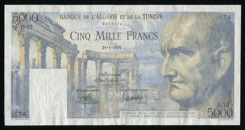 TUNISIA - 5000 Francs 24.1.1950 Banknote Note - P 30 P30 (VF) - RARE!