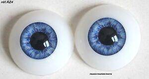 paire-yeux-demi-rond-bleu-26mmRZ4-poupee-MODERNE-Vintage-BJD-Reborn-doll-eyes