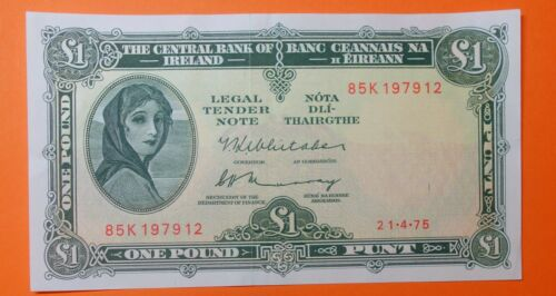 IRELAND : LAVERY ONE  POUND NOTE . 21.4.1975.  FREE SHIPPING