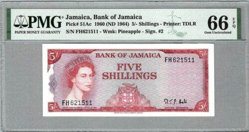 JAMAICA 5 Shillings 1960 (ND 1964), P-51Ac, Act Gov Hale, PMG 66 EPQ Gem UNC