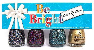 China Glaze BE BRIGHT 4pc Nail Polish Set~Present Merry Bells Mingle 81573-81576 ()