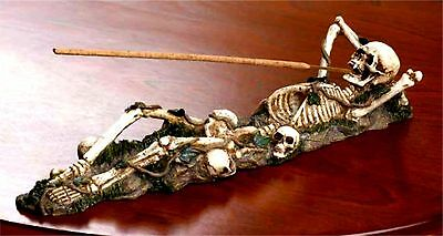BONEY SKULLS SKELETON INCENSE BURNER HOLDER ** NIB