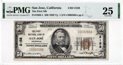 $50 1929 T1 National SAN JOSE California CA ((Very In Demand)) PMG 25 Very Fine!