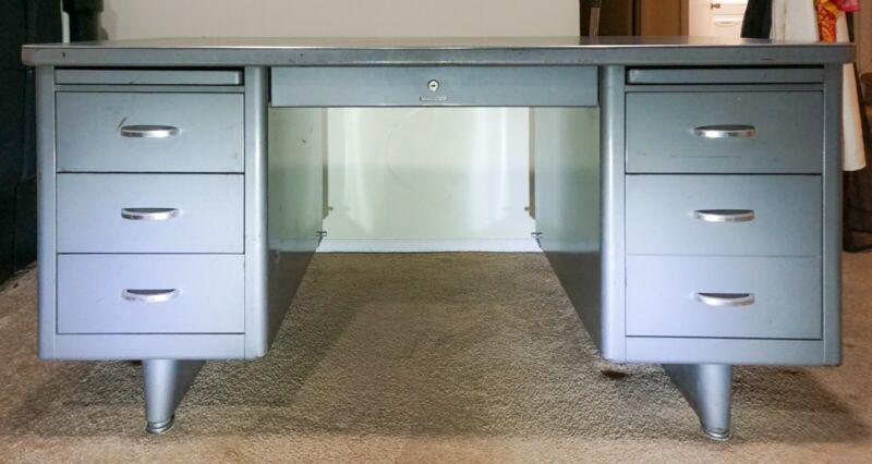 "Vintage Steel Tanker Desk Mid Century Gray Steelcase 30"" x 60"" x 29"""