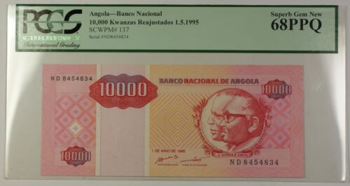 1.5.1995 Angola 10000 Kwanzas Reajustados Bank Note SCWPM# 137 PCGS GEM 68 PPQ