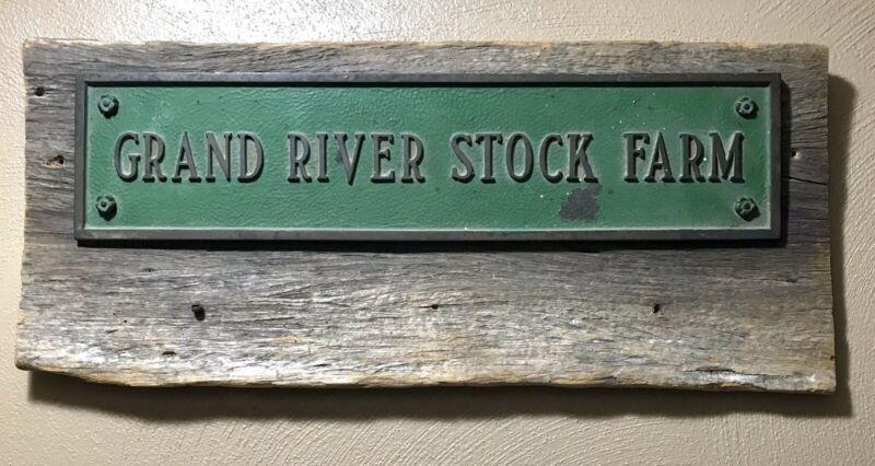 Solid Brass Sign Plaque Grand River Stock Farm Eaton Rapids Michigan VFW