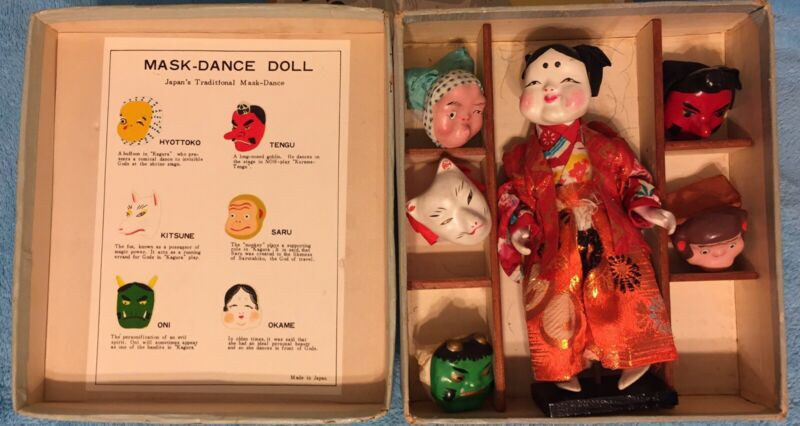NM Japanese Mask Set Orig Box:Gofun Ichimatsu Doll,6 Mask  Lacquer Stand ,silk