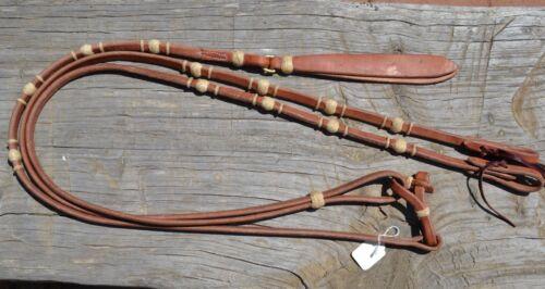 "1/2""Jose Ortiz Flat Harness Leather Romel Reins 4 Braided Natural Rawhide Knots"