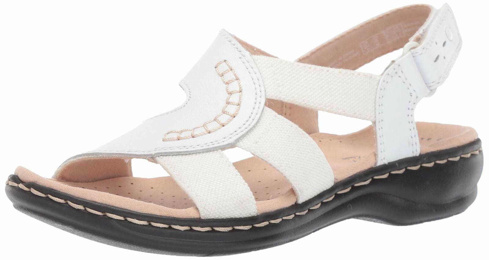 Clarks 26140781: Women's Leisa Joy White Leather/Textile Combo Sandal