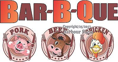Choose Your Size Barbeque Pork Beef Chicken Decal Food Truck Concession