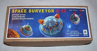 NEW IN BOX SPACE SURVEYOR X-12 wind up set of 3 flying saucers ufos UFO Aliens