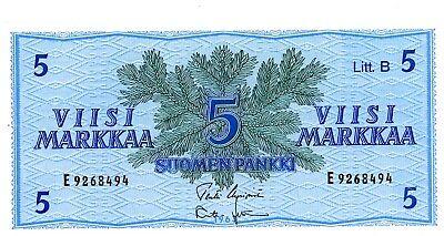 """Finland ... P-106Aa ... 5 Markkaa ... 1963 ... *UNC* .. Prefix """"E"""" Signs Variety"""