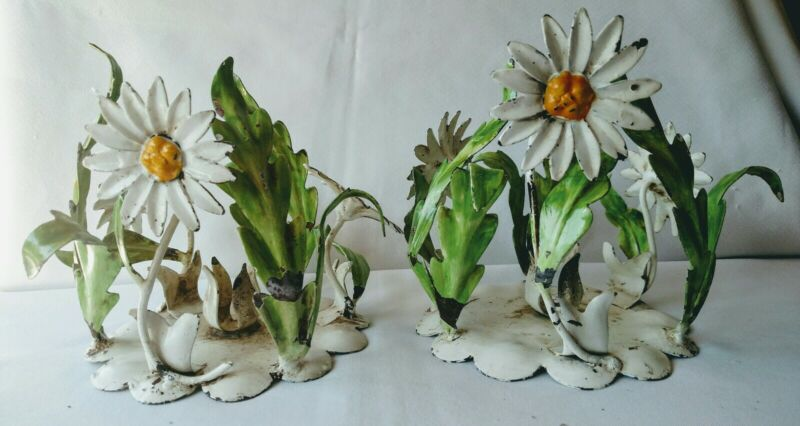 Pair Vintage Shabby Italian Tole Metal DAISY CANDLE HOLDERS  Distressed Daisies