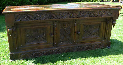 17th Century Carved Oak Country House Panelled Coffer Sideboard Hinged Chest