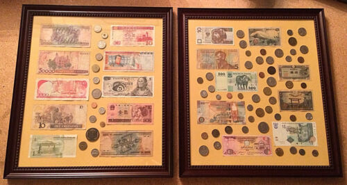 Foreign Currency Framed Bank Notes + Coin Money Collection Lot of 2 pieces