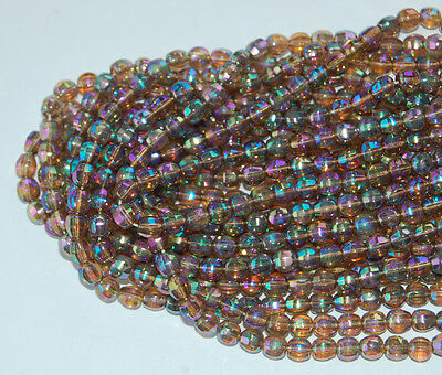 VINTAGE 12 CZECH FACETED GLASS BEADS TOPAZ AURORA BOREALIS AB 6mm